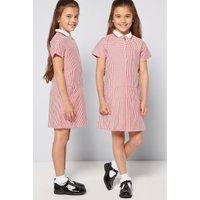 Girls Pack of 2 Red Gingham School Dresses.