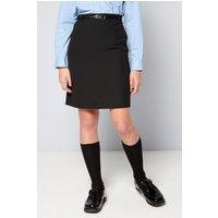 Older Girls Woven Black Pencil School Skirt with Belt