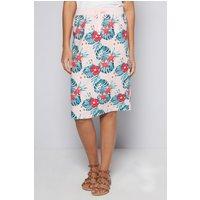 Hawaiian Pink Flower Linen Skirt