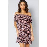 Bardot Rose Animal Frill Short Dress