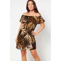 Bardot Tropical Leaf Frill Short Dress