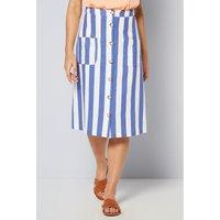 Linen Blend Button Through Navy Stripe Skirt