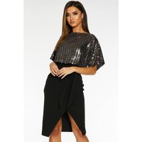 Quiz Batwing Sequin Top Midi Dress