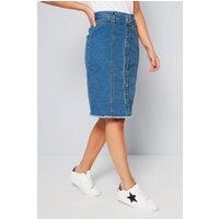 Longline Denim Mid Wash Skirt