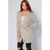 Fluffy Belted Grey Cardigan with Tie Waist