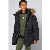 Older Boys Faux Fur Hood Padded Zip Front Jacket