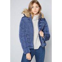 Older Girls Faux Fur Hood Micro Fleece Lined Navy Padded Jacket