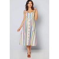 Linen Blend Button Front Stripe Dress