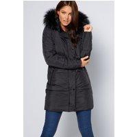 Padded Midi Faux Fur Trim Black Coat