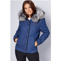 Denim Faux Fur Hooded Jacket