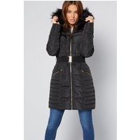 Luxe Belted Black Padded Coat
