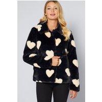 Short Faux Fur Heart Jacket