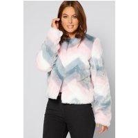Faux Pink Fur Zig Zag Jacket