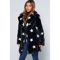 Longline Star Faux Fur Black Jacket