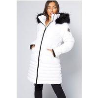 Crosshatch Warsaw White Puffer Jacket with Faux Fur Trim