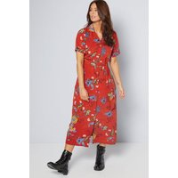 Rust Floral Crepe Button Through Dress
