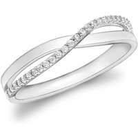 9ct White Gold CZ Crossover Ring