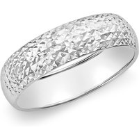 9ct White Gold 5mm Diamond Cut Ring