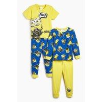 Boys Minions Pack of 2 Yellow/Blue Pyjamas.