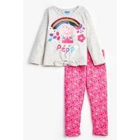 Girls Peppa Pig Reversible Sequins Grey T-Shirt and Leggings Set