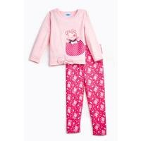 Girls Peppa Pig Reversible Sequins Pink T-Shirt and Leggings Set