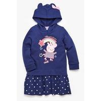Girls Peppa Pig Navy Hooded Sweatdress