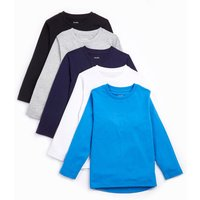 Younger Boys Pack of 5 Long Sleeve T-Shirts