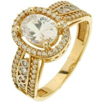 9ct Yellow Gold Oval CZ Halo Ring
