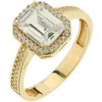 9ct Yellow Gold Emerald Cut CZ Ring
