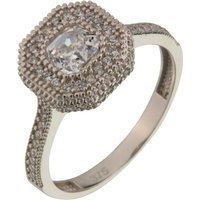 9ct White Gold CZ Halo Ring