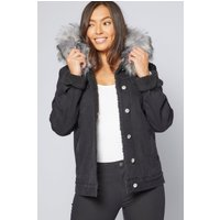 Black Denim Faux Fur Hooded Jacket