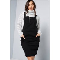 Zip Front Black Denim Pinafore Dress