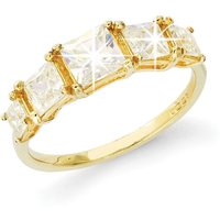 9ct Yellow Gold 5 Stone Square CZ Graduated Ring