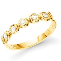 9ct Yellow Gold Diamond 5 Stone Doughnut Ring
