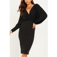 Quiz Black Draped Wrap Skirt Dress