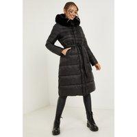 Quiz Black Padded Faux Fur Hood Tie Belt Longline Coat