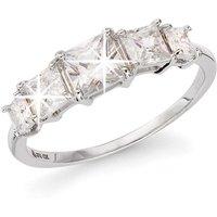 9ct White Gold Princess Cut CZ Graduate 5 Stone Ring