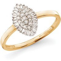 9ct Yellow Gold Diamond Marquise Cluster Ring