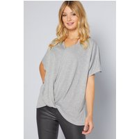 Grey Wrap Front Batwing Top