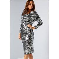 Velvet Cowl Neck Long Sleeve Silver Leopard Print Dress