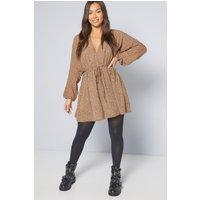 AX Paris Plunge Camel Print Mini Dress