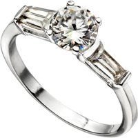 Sterling Silver CZ Ring with Baguette Shoulders