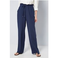Linen Blend Wide Leg Navy Trousers
