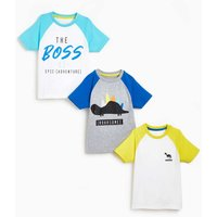 Younger Boys Pack of 3 Dino Boss Short Sleeve T-Shirts