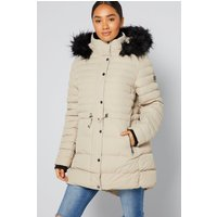 Northern Expo Long Stone Puffer Coat with Faux Fur Trim Hood
