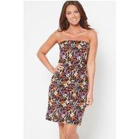 Bandeau Black Floral Short Dress
