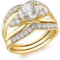9ct Yellow Gold CZ 3-Piece Ring Set