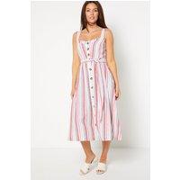 Classic Button Through Multi Stripe Strappy Dress