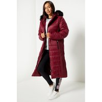 Bench Padded Faux Fur Hood Burgundy Coat