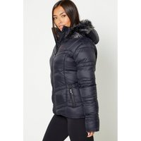Bench Padded Faux Fur Hood Black Tape Coat